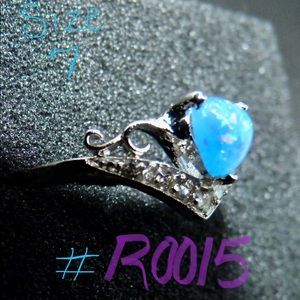 Blue Opal Silver Ring Size 7